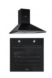 Luxell 2li Ankastre Set (B66 S2 Siyah Fırın Lx Dp6 S Siyah Davlumbaz)