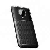 Xiaomi Poco F2 Pro Kılıf Silikon Negro Karbon Desen Siyah + Tam Ekran Koruyucu Cam-(fhucvx)