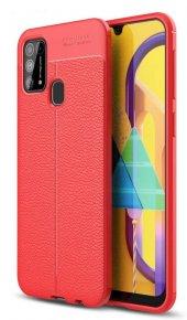Samsung Galaxy M21 Kılıf Silikon Niss Deri Görünümlü Kırmızı-(aaldosc)