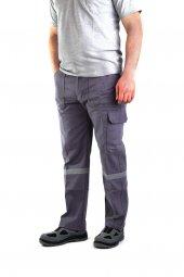 ESER - 7-7 Gabardin Kom.Cepli İş Pantolonu Reflektörlü - Kışlık-Gri