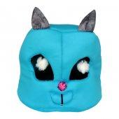 Flipper Kedi Kafası Şekilli Kedi Yatağı 45 cm Turkuaz