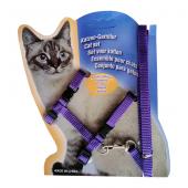 Kedi Göğüs Bel Tasma Takımı Medium Mor 20*32-120 cm