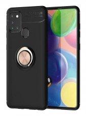 Samsung Galaxy A21S Kılıf Ravel Yüzüklü Standlı Siyah Rosegold-(fkjfk9vnc)