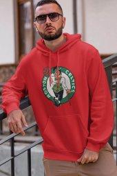 Boston Logo NBA Kırmızı Erkek Kapşonlu Sweatshirt - Hoodie