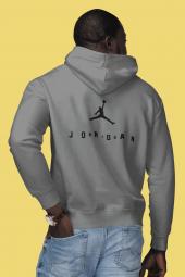 Air Jordan 10 Sırt Gri NBA Erkek Kapşonlu Sweatshirt - Hoodie