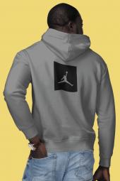 Air Jordan 09 Sırt Gri NBA Erkek Kapşonlu Sweatshirt - Hoodie