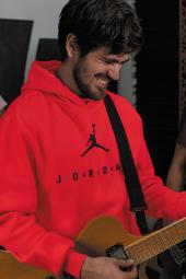 Air Jordan 10 Kırmızı NBA Erkek Kapşonlu Sweatshirt - Hoodie