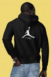 Air Jordan 06 Sırt Siyah NBA Erkek Kapşonlu Sweatshirt - Hoodie