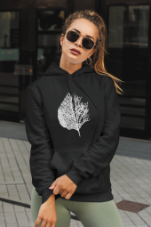 Leaf Siyah Kadın Kapşonlu Sweatshirt - Hoodie