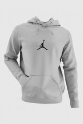 Air Jordan 05 Gri NBA Erkek Kapşonlu Sweatshirt - Hoodie