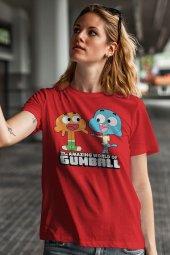 Gumball and Darwin Kırmızı Kadın Tshirt - Tişört