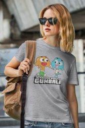 Gumball and Darwin Gri Kadın Tshirt - Tişört