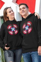 Sevgili Kombini Kaptan Amerika Siyah Kapşonlu Sweatshirt - Hoodie