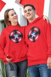 Sevgili Kombini Kaptan Amerika Kırmızı Kapşonlu Sweatshirt - Tek Ürün Fiyatıdır.