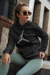 Air Jordan 15 Siyah NBA Kadın Kapşonlu Sweatshirt - Hoodie