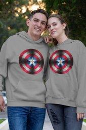Sevgili Kombini Kaptan Amerika Gri Kapşonlu Sweatshirt - Hoodie
