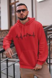 Dağ Kırmızı Erkek Kapşonlu Sweatshirt - Hoodie