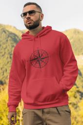 Pusula Kırmızı Erkek Kapşonlu Sweatshirt - Hoodie