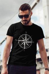 Pusula Siyah Outdoor Erkek Tshirt - Tişört