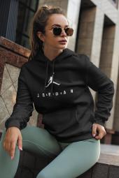 Air Jordan 10 Siyah NBA Kadın Kapşonlu Sweatshirt - Hoodie