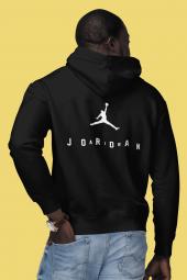 Air Jordan 10 Sırt Siyah NBA Erkek Kapşonlu Sweatshirt - Hoodie