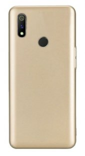 Realme 3 Pro Kılıf Silikon Premier Gold + Tam Ekran Cam Koruyucu-(sigpwhv)