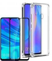 Huawei P Smart 2019 Kılıf Silikon Şeffaf Darbe Korumalı +Tam Ekran Cam Koruyucu