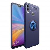 Huawei Honor 8c Kılıf Silikon Ravel Soft Yüzüklü Lacivert + Cam Ekran Koruyucu-(rtekc-35czq)