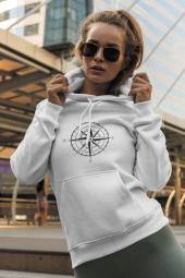 Pusula Beyaz Kadın Kapşonlu Sweatshirt - Hoodie