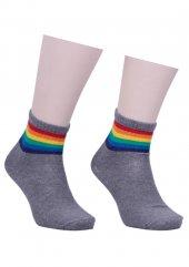 Bileği Renkli Desenli Soket Çorap 333 | Gri