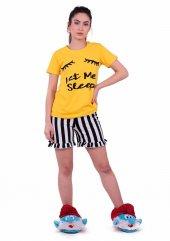 Jiber Kadın Şortlu Pijama Takımı 3601   Sarı