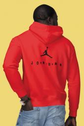 Air Jordan 10 Sırt Kırmızı Nba Erkek Kapşonlu Sweatshirt Hoodie
