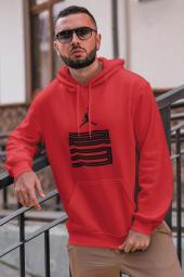 Air Jordan 11 Kırmızı Nba Erkek Kapşonlu Sweatshirt Hoodie