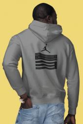 Air Jordan 11 Sırt Gri Nba Erkek Kapşonlu Sweatshirt Hoodie
