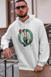 Boston Logo Nba Beyaz Erkek Kapşonlu Sweatshirt Hoodie