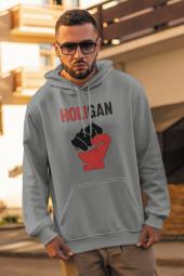 Holigan Gri Erkek Kapşonlu Sweatshirt Hoodie