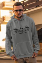 Mountain Gri Erkek Kapşonlu Sweatshirt Hoodie