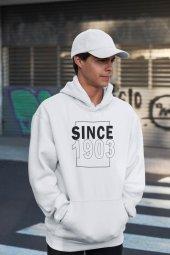 Since 1903 Beyaz Erkek Kapşonlu Sweatshirt Hoodie