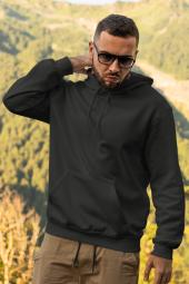 Siyah Erkek Kapşonlu Sweatshirt Hoodie