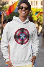 Kaptan Amerika Beyaz Erkek Kapşonlu Sweatshirt Hoodie