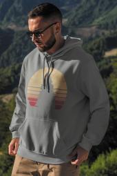 Sunset Gri Erkek Kapşonlu Sweatshirt Hoodie