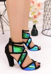 Mauri Siyah Süet Holagramlı Topuklu Ayakkabı