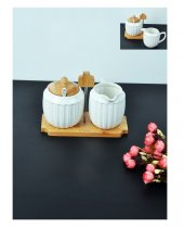 Şener ŞNR 101067 Bambu Porselen Şekerlik Sütlük Seti