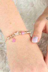 Rose Renk Kelebek ve Nazar Boncuklu Kadın Bileklik