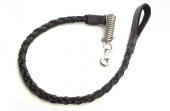 Deri Yaylı Köpek Gezdirme Halatı 1,5 cm x 80 cm Siyah ( 60 kg )