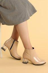 Ayakland 520 Rugan 6 Cm Topuk Termo Taban Bayan Bot Ayakkabı Ten