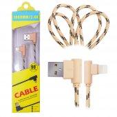 İphone Lightning  Eğik Başlı Halat Usb Kablo 1metre