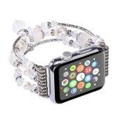 Apple Watch İçin 1,2,3 38mm Boncuk Taşlı Lux Kordon Kayış