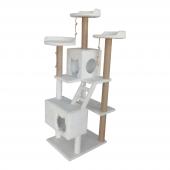 Merdivenli 4 Katlı Yuvalı Kedi Tırmalama Oyun Alanı 170 cm Beyaz