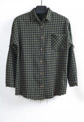 Haki Siyah Kadın Oduncu Gömlek